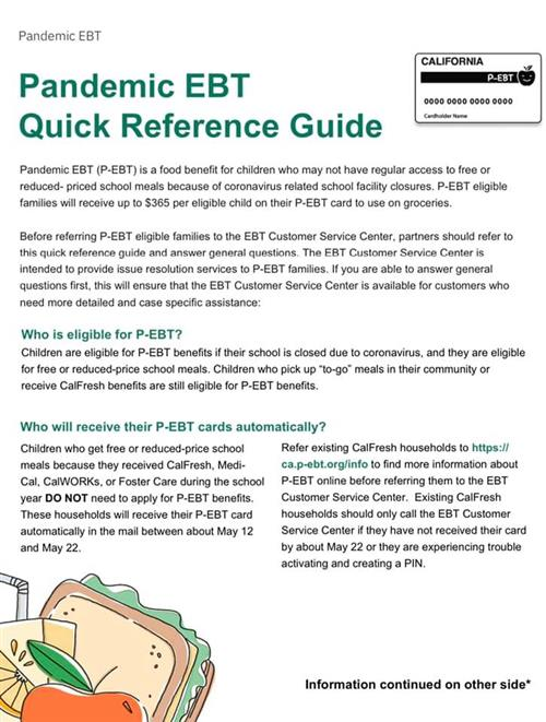 Pandemic EBT Quick Reference Guide